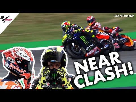 Rossi and Marquez ALMOST CLASH during Q2! | 2019 #SanMarinoGP