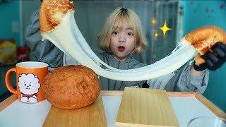 GIANT MOZZARELLA CHEESEBALL MUKBANG (KOREAN BHC CHEESE BALLS) | MUKBANG 대왕 치즈 볼 먹방