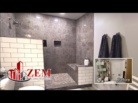 Large Walk In Tile Shower - Bathtub Conversion - Full Bathroom Remodel Time Lapse