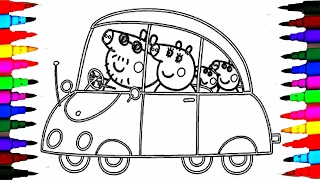 PEPPA PIG Coloring Book Pages Kids Fun Art Activities Videos For Children Learning Rainbow Color Car