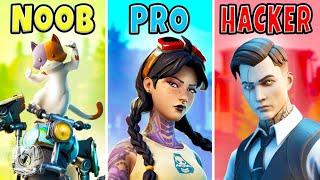 NOOB vs. PRO vs. HACKER! (Fortnite Challenge)