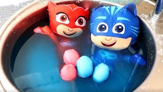 Learn Colors with Pj Masks Toys and Slime Pool