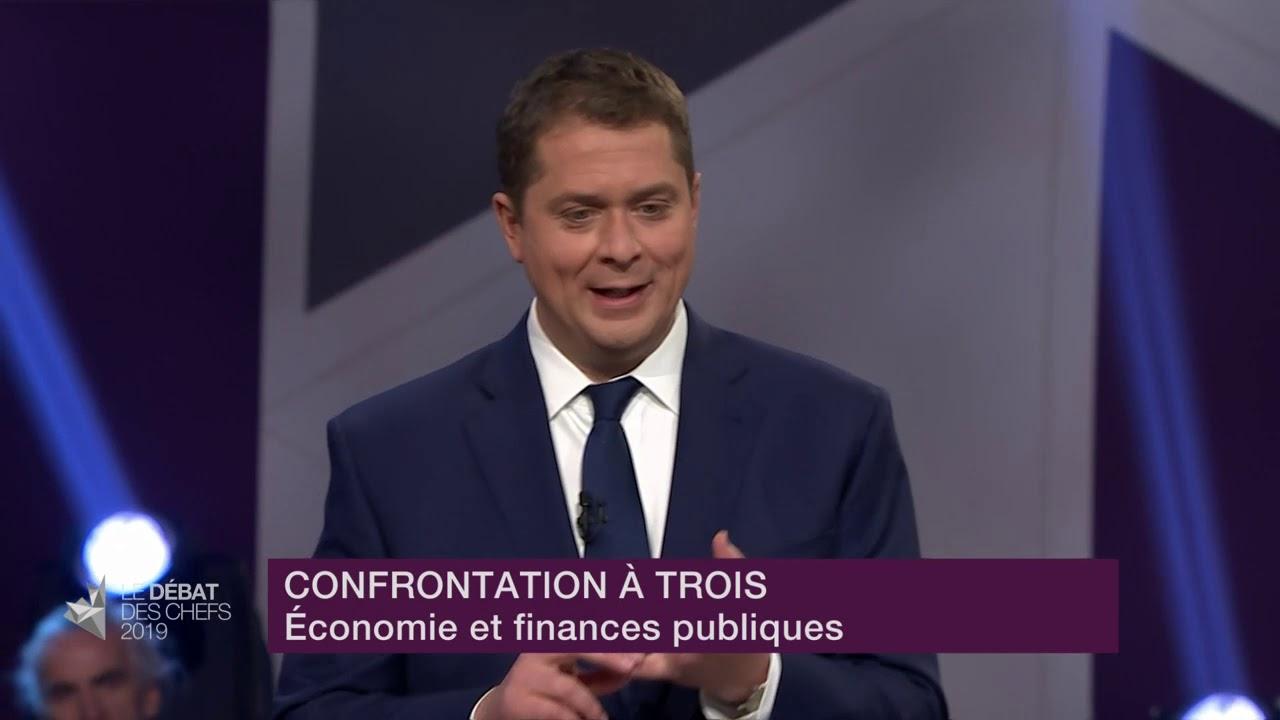 Andrew Scheer, Justin Trudeau et Maxime Bernier débattent sur l'équilibre budgétaire