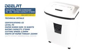 Industrial Paper Shredder - P5 - 20 L - Rating Capacity 2*15mm