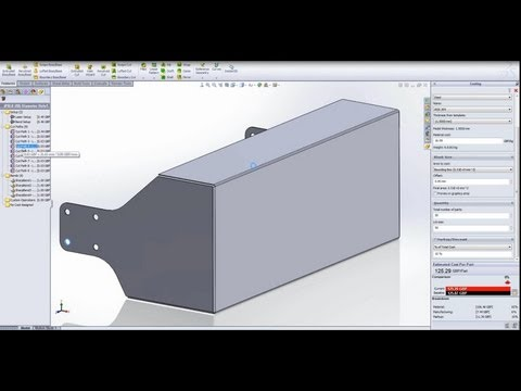 SolidWorks Costing 2013 Sheet Metal - YouTube