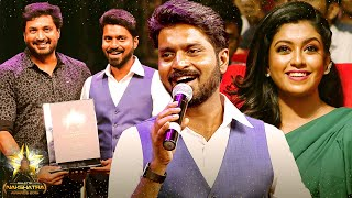 First Time: Super Singer Ma Ka Pa Sings His Famous Song On Stage | Galatta Nakshatra Awards 2019