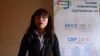Ms. Hanh Ngoc Thi Le at SEES Conference 2016 by GSTF Singapore