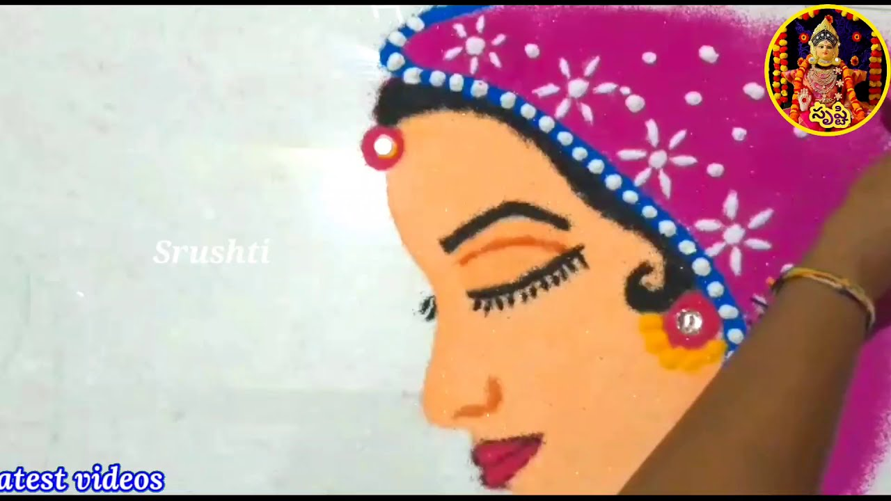 easy and freehand rangoli design woman by srushti