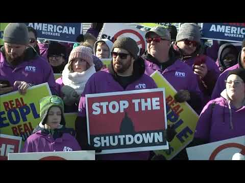 Union leaders staged two rallies in Washington Thursday to bring attention to federal workers who are going without paychecks. (Jan. 10)