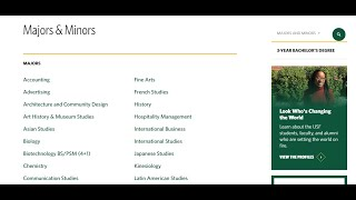 Using the USF Majors and Minors List Tutorial for Major Exploration - A Jumpstart Your Path Tutorial
