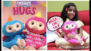 Fingerlings HUGS from WowWee - Interactive  HUGS Bella - Friendly Interactive Plush Sloth Toy
