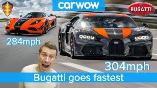 304mph in a Bugatti Chiron - see how it destroys the Koenigsegg Agera RS!