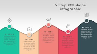49.Create 5 Step WAVE Shape Infographic/Powerpoint Infographics/Graphic Design/Free Template