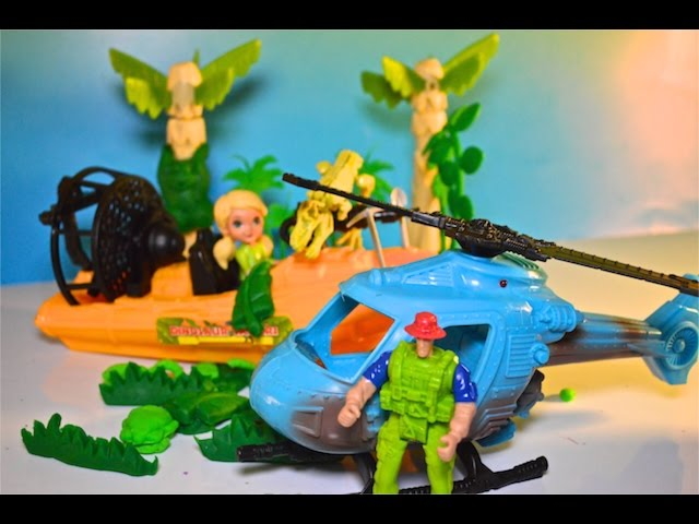 Dino Safari Boat & Helicopter Find Fossils in Swamp Toy Review 헬로 키티 장난감 헬로 키티 장난감, 凱蒂貓玩具