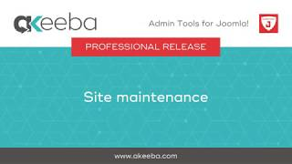 Watch a video on Site Maintenance [03:10]