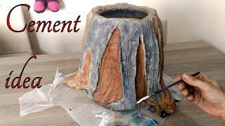 Çimento ile Kütük Saksı Yapımı & Detaylı Gösterim