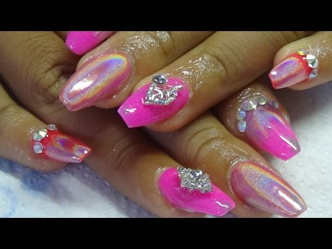 holosexual acrylic nails using naio nails neons (holographic powder)