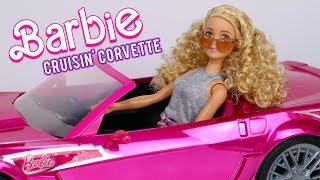 Barbie Cruisin Corvette Hot Pink Convertible R/C Doll Car Unboxing Review