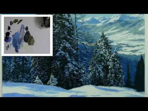 How to paint snow covered mountains | Oil Painting Tutorial