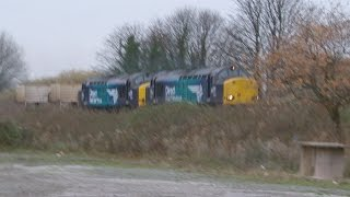 preview picture of video 'Greenfield Holywell 4.12.2014 - DRS 37059 & 37609 on Valley Flasks - nr Flint'