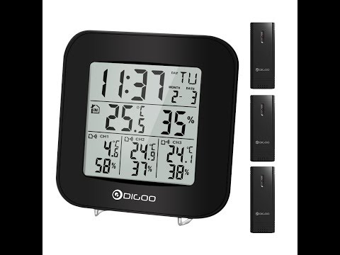 Digoo DG-TH3330 3 Channels Hygrometer Thermometer Sensor Clock - UNBOXING (by Banggood)