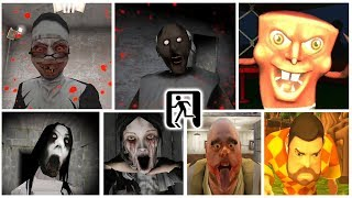Escape Endings | Granny*Evil Nun*Headhorse*Slendrina*Mr.Meat*Evil Spongebob*Dark Riddle