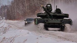 Джип пытается угнаться за новейшим Т-80БВМ — кадры проверки танка