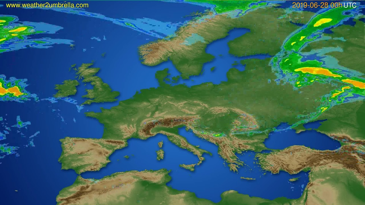 Radar forecast Europe // modelrun: 12h UTC 2019-06-27
