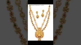 Uncut Diamond Necklace Sets in 22K Gold from Totaram Jewelers Online Collection