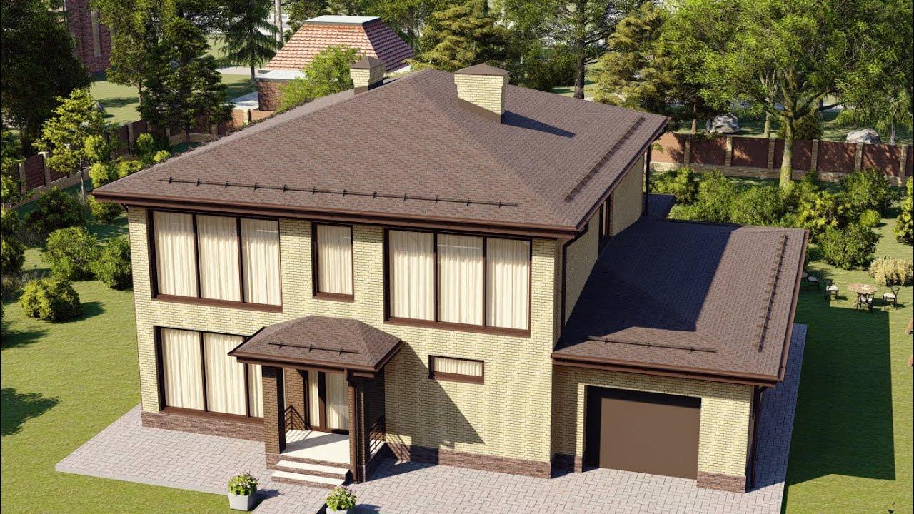 Проект большого двухэтажного дома с гаражом и панорамными окнами