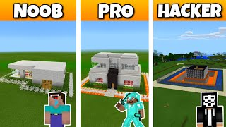 Craftsman NOOB Vs PRO Vs HACKER: SAFEST MODERN HOUSE BUILD CHALLENGE In Craftsman: Building Craft