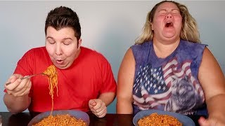 Redneck Does the Fire Noodle Challenge