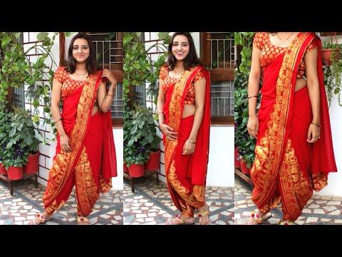 How to drape dhoti Saree| celebrity inspired dhoti saree look| Pragati Up-to-date Fashion