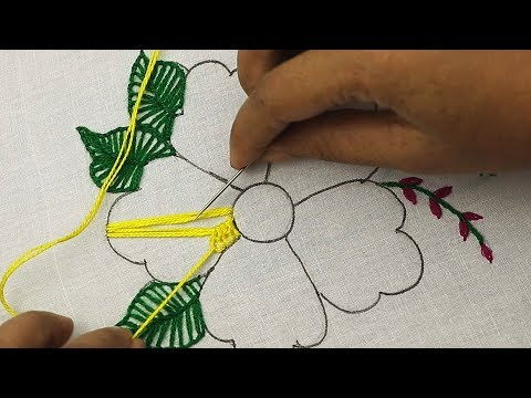 hand embroidery, latest fantasy flower embroidery design with cross stitch, buttonhole stitch & more