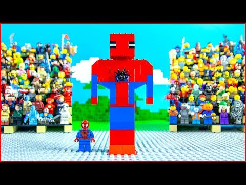 Lego BIG SPIDERMAN Brick Building Animation for Kids