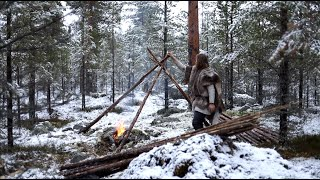 Viking bushcraft trip - snow, making tipi, reindeer sleeping bag, cooking meat on hot stone etc.