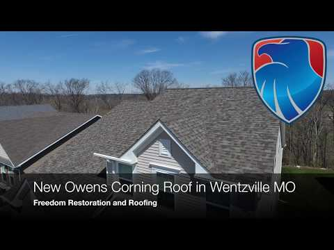 The new Owens Corning Duration roof on this Wentzville MO home looks great! The home owner loves the look it gives their home and appreciates the protection it provides. Give us a call for a free inspection.