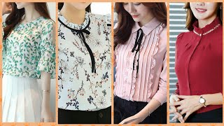 , Latest Stylish Chiffon Blouses With Dots Check Plane And Printed Patren Collection