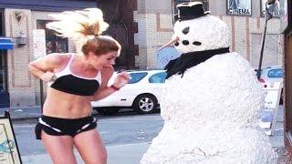 Scary Snowman Hidden Camera Practical Joke Thayer Street Providence, Rhode Island (2012) Episode 1