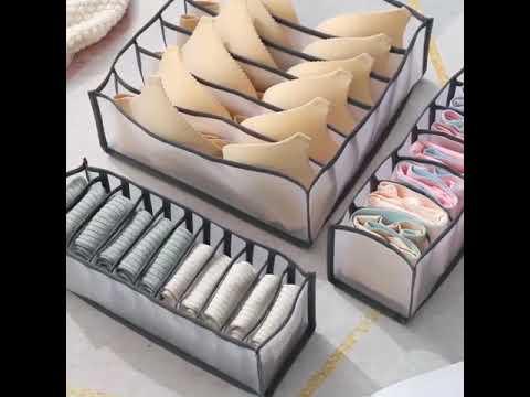 Органайзер для белья набор 3 нейлоновых ящика для хранения носков / бюстгальтеров / нижнего белья Underwear Storage (US-28554) Video #1