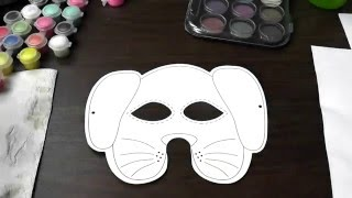 watercolour painting - dog mask for kids