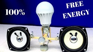 How To Make A Free energy Generator With Magnet Very Simple - Generator Light Bulbs Using speaker
