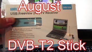 Unboxing/Test vom August DVB-T2 Stick DVB-T230 für TV am Notebook 20% Rabatt WERBUNG