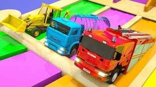 Learn Colors Monster Construction Vehicle, Water Tank and Magic Slide for Kids Children