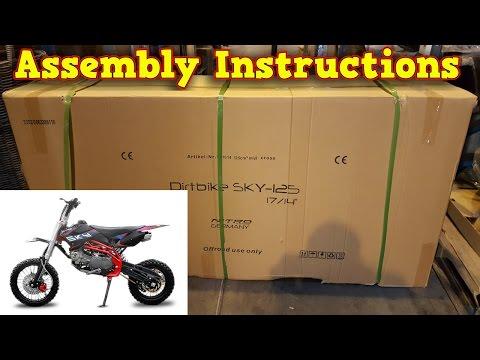 Pit Bike, Dirt Bike 125ccm - Unboxing - Full Assembly Instruction - Sky 125ccm Nitro Motors - Video