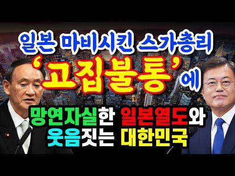일본 마비시킨 스가총리 '고집불통'에 망연자실한 일본열도와 웃음짓는 대한민국 상황