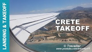 INFLIGHT Lufthansa Airbus A320 Takeoff from Crete Airport in Greece - Economy Class