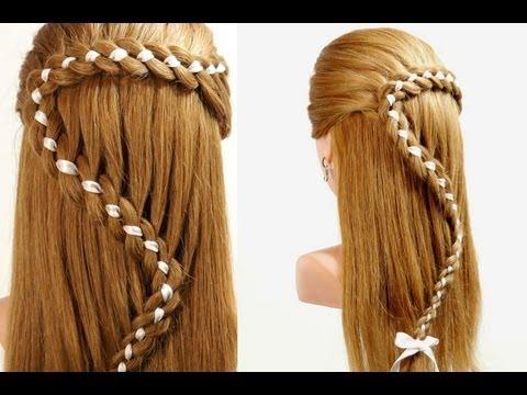 Δείτε τέσσερις πρωτότυπες πλεξούδες με κορδέλα για μακριά μαλλιά   thumbnail