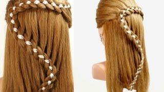 Для самых модных девчонок, Прическа с плетением: Коса из 4-х прядей с лентой. 4 Strand Braid Hair With Ribb...