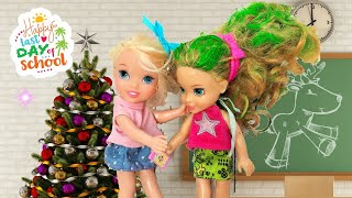 Anna and Elsa Toddlers share their Christmas Holiday Plans !  Barbie - Last Day of School !